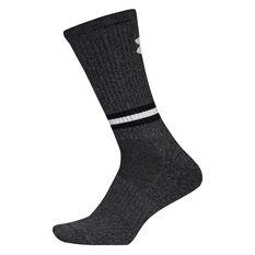Under Armour Mens Phenom Twisted Crew Socks, Black, rebel_hi-res