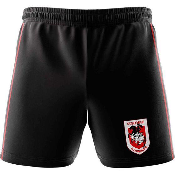 St George Illawarra Dragons Mens Club Fleece Shorts Black, Black, rebel_hi-res