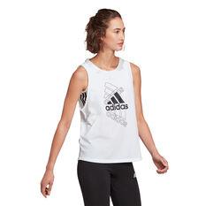 adidas Womens Essentials Stacked Logo Tank White XS, White, rebel_hi-res