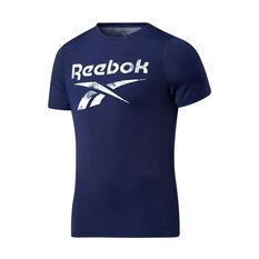 Reebok Mens Workout Ready ACTIVCHILL Graphic Tee Navy XS, Navy, rebel_hi-res