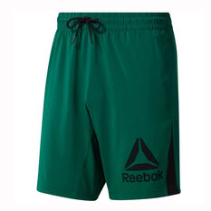 Reebok Mens Workout Ready Woven Graphic Shorts Green S, Green, rebel_hi-res
