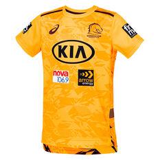 Brisbane Broncos 2021 Kids Training Tee Yellow 6, Yellow, rebel_hi-res