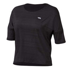 Running Bare Womens Snatched Cropped Workout Tee Black 8, Black, rebel_hi-res