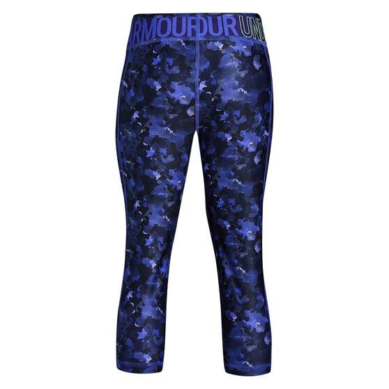 Under Armour Girls HeatGear Armour Novelty Capri Tights Purple / Green XL, Purple / Green, rebel_hi-res