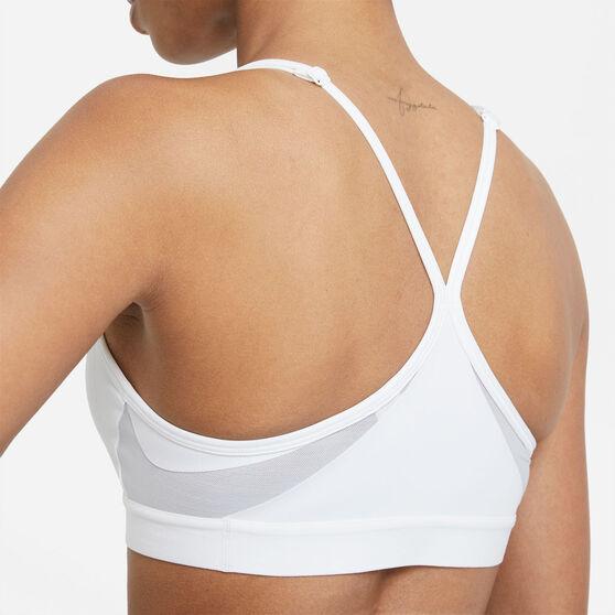 Nike Womens Dri-FIT Indy V Neck Sports Bra, White, rebel_hi-res