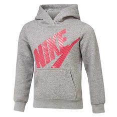 Nike Girls Futura Fleece Hoodie Grey / Pink 4, Grey / Pink, rebel_hi-res