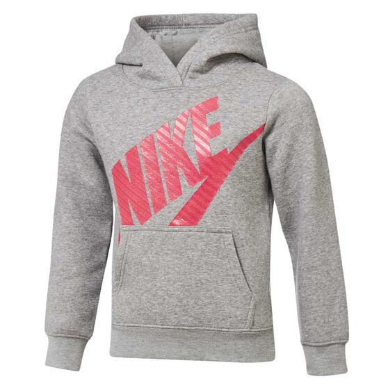 Nike Girls Futura Fleece Hoodie Grey / Pink 6, Grey / Pink, rebel_hi-res