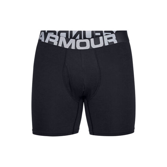 Under Armour Mens Charged Cotton 6in 3 Pack Underwear, Black, rebel_hi-res