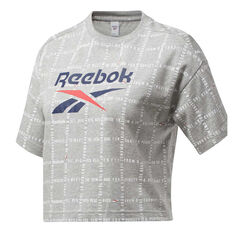 Reebok Womens Grid Cropped Tee Grey XS, Grey, rebel_hi-res