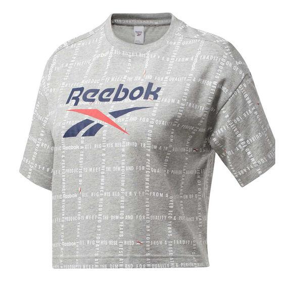 Reebok Womens Grid Cropped Tee, Grey, rebel_hi-res