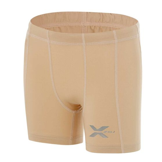 2XU Boys Half Compression Shorts, Beige, rebel_hi-res
