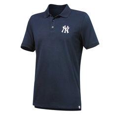 New York Yankees Mens Pique Polo Navy S, Navy, rebel_hi-res