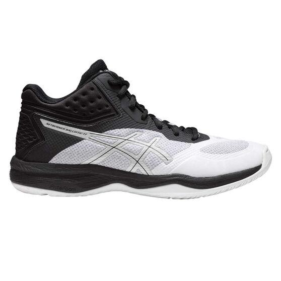 Asics Netburner Ballistic FF Womens Netball Shoes, White / Silver, rebel_hi-res