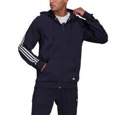 adidas Mens Future Icons Full Zip Hoodie Navy S, Navy, rebel_hi-res