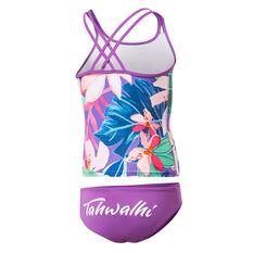 Tahwalhi Girls Hyper Floral Tankini Swimsuit Purple 8, Purple, rebel_hi-res