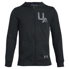 Under Armour Boys Rival Logo Full Zip Hoodie Black / Grey XS, , rebel_hi-res