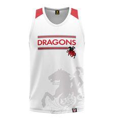 St. George Illawarra Dragons Mens Watermark Performance Singlet White S, White, rebel_hi-res