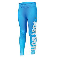 Nike Girls Dri-FIT Sport Essential Verbiage Leggings Blue 4, Blue, rebel_hi-res