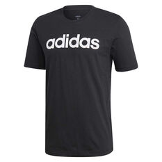 adidas Mens Essentials Linear Tee Black / White S, Black / White, rebel_hi-res