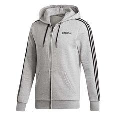adidas Mens Essentials 3-Stripes Fleece Hoodie Grey S, Grey, rebel_hi-res