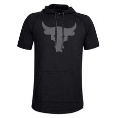 Under Armour Mens Project Rock Charged Cotton Hoodie Black S, Black, rebel_hi-res