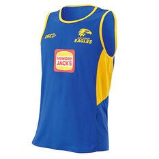 West Coast Eagles 2019 Mens Training Singlet Blue / Yellow S, Blue / Yellow, rebel_hi-res