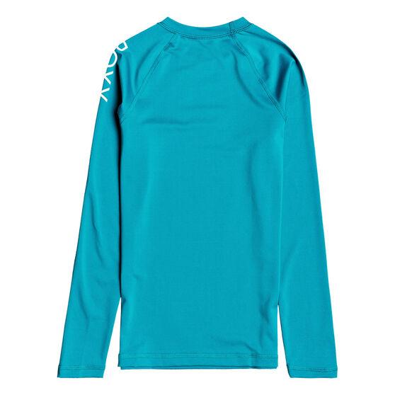 Roxy Girls Beach Classic Long Sleeve Lycra Rash Vest, Blue, rebel_hi-res