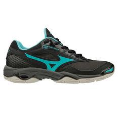 Mizuno Wave Phantom 2 Womens Netball Shoes Black / Blue US 6.5, Black / Blue, rebel_hi-res
