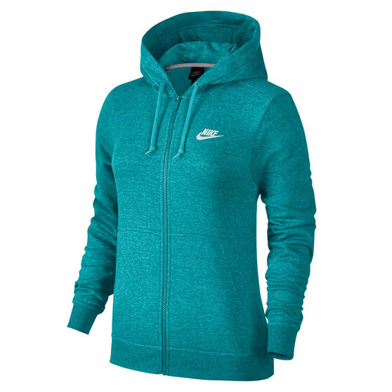 Nike Womens Sportswear Fleece Hoodie Teal XS, Teal, rebel_hi-res