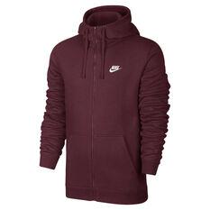 cheaper 9ed93 b265a Nike Mens Sportswear Club Full Zip Hoodie Maroon XS, Maroon, rebel hi-res
