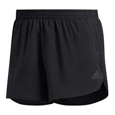 adidas Mens Own The Run Split Shorts Black XS, Black, rebel_hi-res