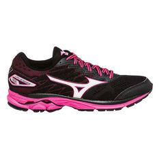 Mizuno Wave Rider 20 Womens Running Shoes Black / Pink US 6, Black / Pink, rebel_hi-res