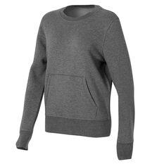 Ell & Voo Womens Harper Fleece Crew Sweatshirt Grey XS, Grey, rebel_hi-res