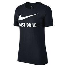 Nike Womens Just Do It Swoosh Tee Black / White XS Adult, Black / White, rebel_hi-res