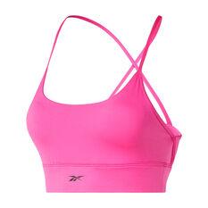 Reebok Womens Workout Ready Tri Back Sports Bra, Pink, rebel_hi-res