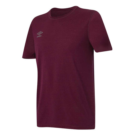 Umbro Mens Staple Training Tee, Burgundy, rebel_hi-res