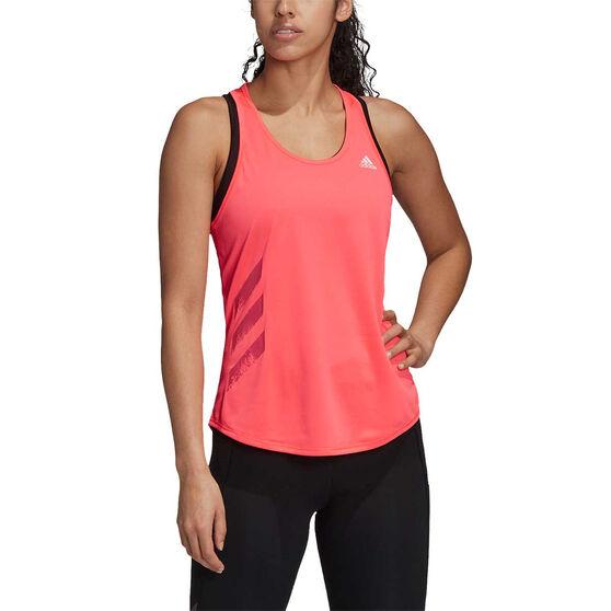 adidas Womens 3-Stripes Run It Tank, Orange, rebel_hi-res