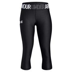 Under Armour Girls HeatGear Armour Capri Tights Black / White XS, Black / White, rebel_hi-res