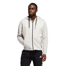 Adidas Mens Studio Tech FZ Hoodie, White, rebel_hi-res