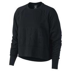 Nike Womens Cropped Training Crew Sweater Black XS, Black, rebel_hi-res