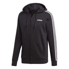 adidas Mens Essentials 3-Stripes Full Zip French Terry Hoodie Black / White S, Black / White, rebel_hi-res