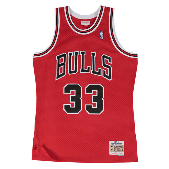 Chicago Bulls Scottie Pippen 97/98 Mens Alternate Swingman Jersey, Red / Black, rebel_hi-res