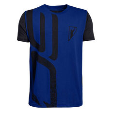 58633004c Under Armour Boys SC30 Initials Basketball Tee Blue   Black XS
