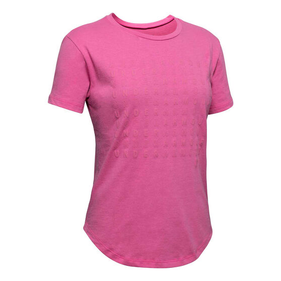 Under Armour Girls Branded Repeat Tee, Pink, rebel_hi-res