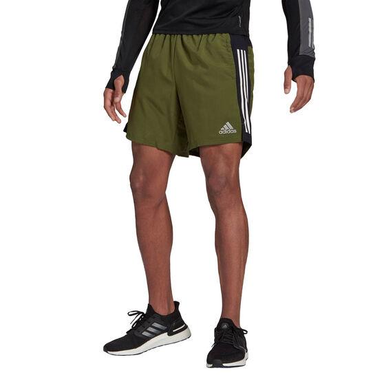 adidas Mens Own The Run 2 in 1 Running Shorts, Khaki, rebel_hi-res