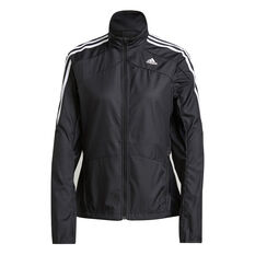 adidas Womens Marathon 3-Stripes Jacket Black XS, Black, rebel_hi-res