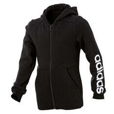 adidas Girls Linear Full Zip Hoodie Black / White 8, Black / White, rebel_hi-res