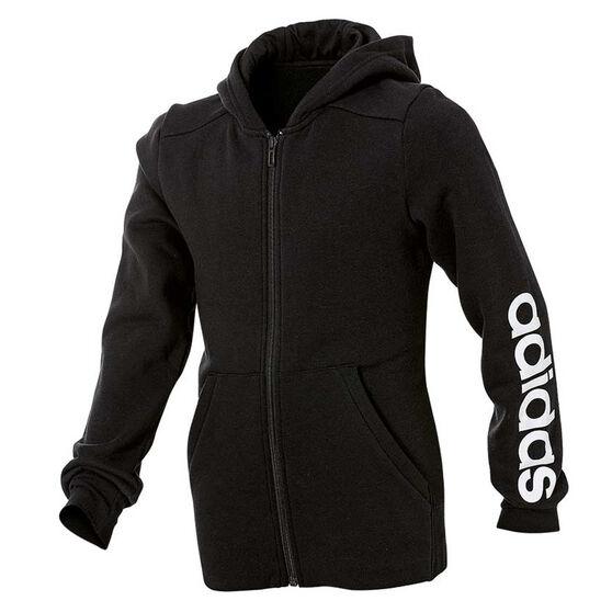 adidas Girls Linear Full Zip Hoodie, Black / White, rebel_hi-res