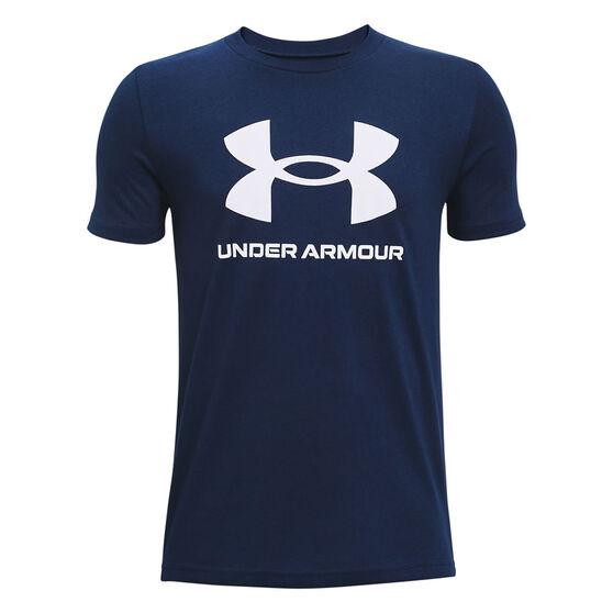 Under Armour Boys Sportstyle Logo Tee, Navy, rebel_hi-res
