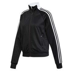 adidas Womens ID 3 Stripes Snap Track Jacket Black XS, Black, rebel_hi-res